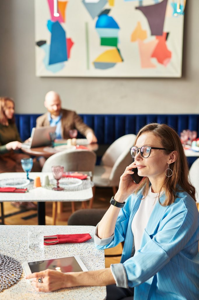 woman booking a digital marketing call with Creative Partner
