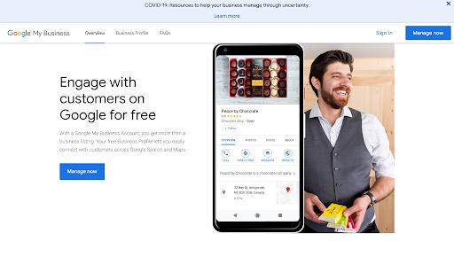 Set up Google my business step 3: manage now screenshot